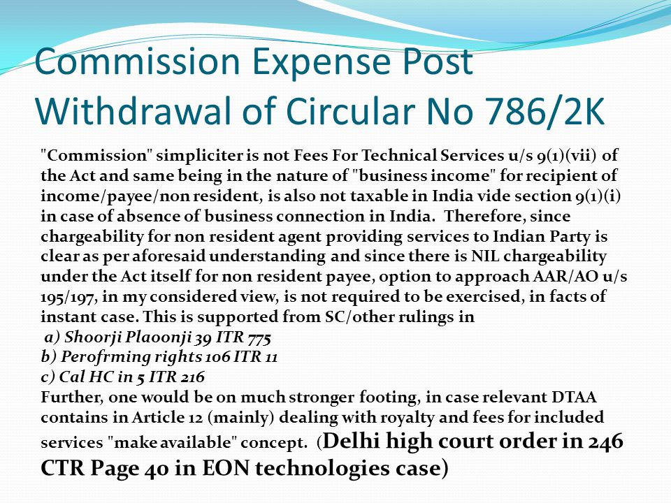 Commission Expense Post Withdrawal of Circular No 786/2K