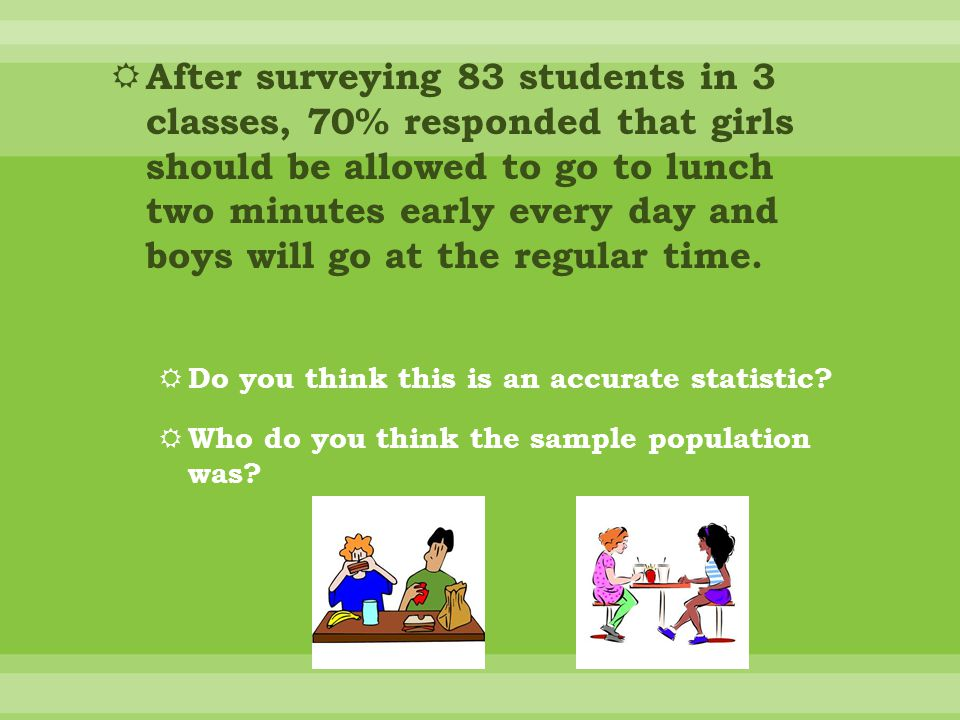 After surveying 83 students in 3 classes, 70% responded that girls should be allowed to go to lunch two minutes early every day and boys will go at the regular time.