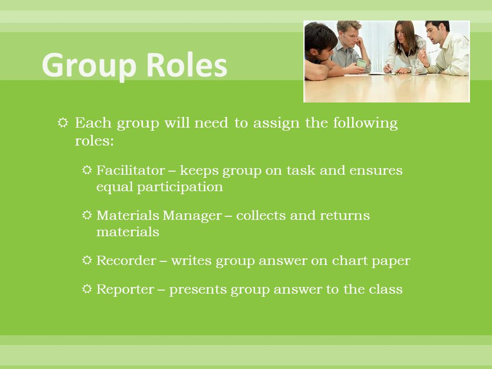 Group Roles Each group will need to assign the following roles: