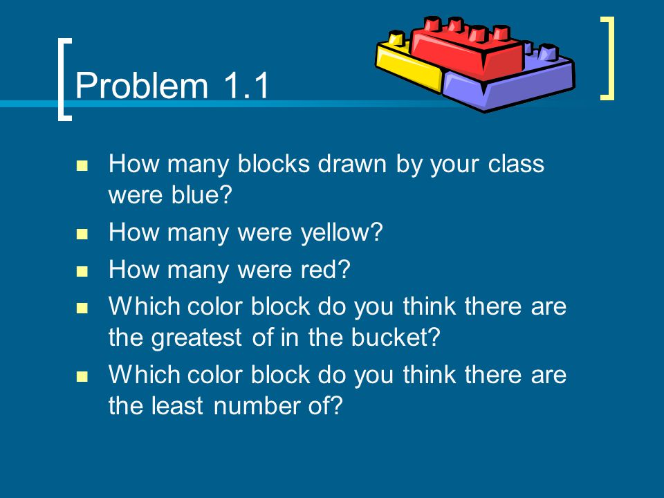 Problem 1.1 How many blocks drawn by your class were blue