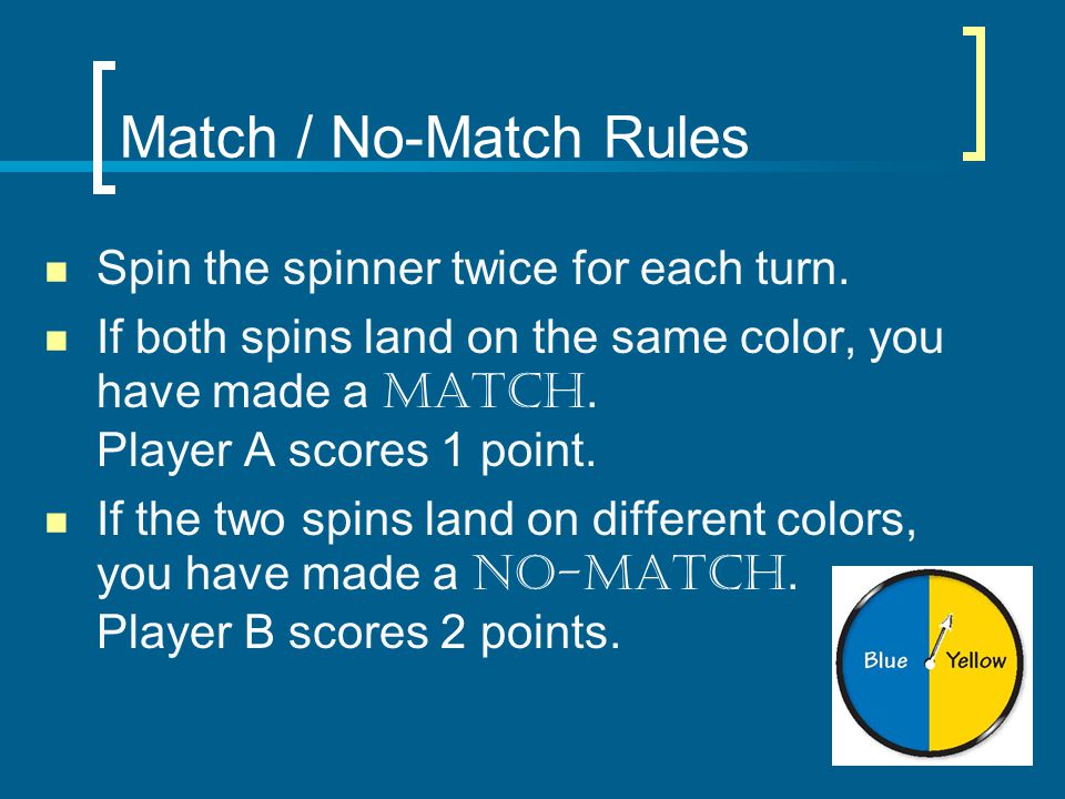 Match / No-Match Rules Spin the spinner twice for each turn.