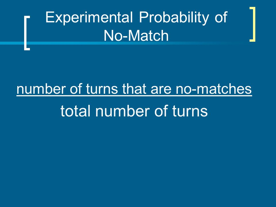 Experimental Probability of No-Match