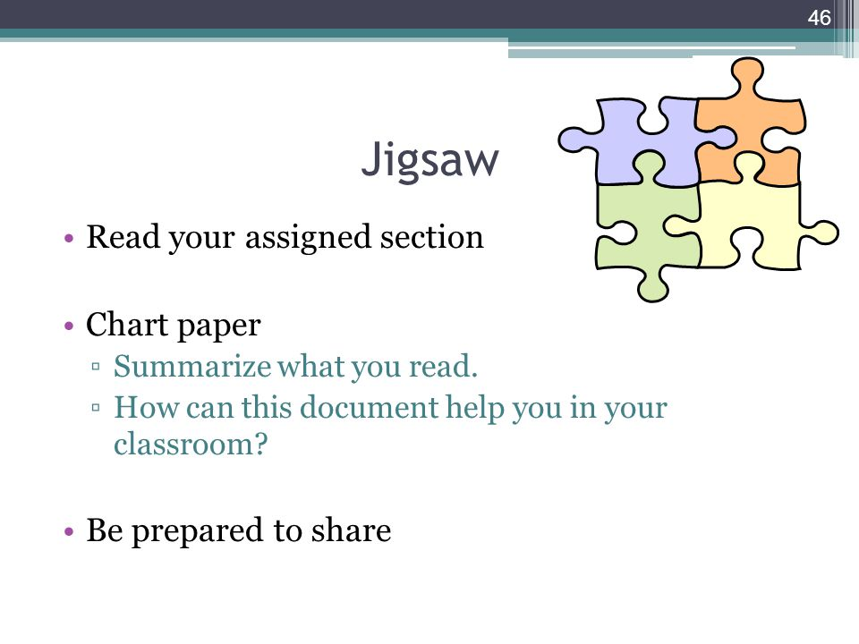 Jigsaw Read your assigned section Chart paper Be prepared to share