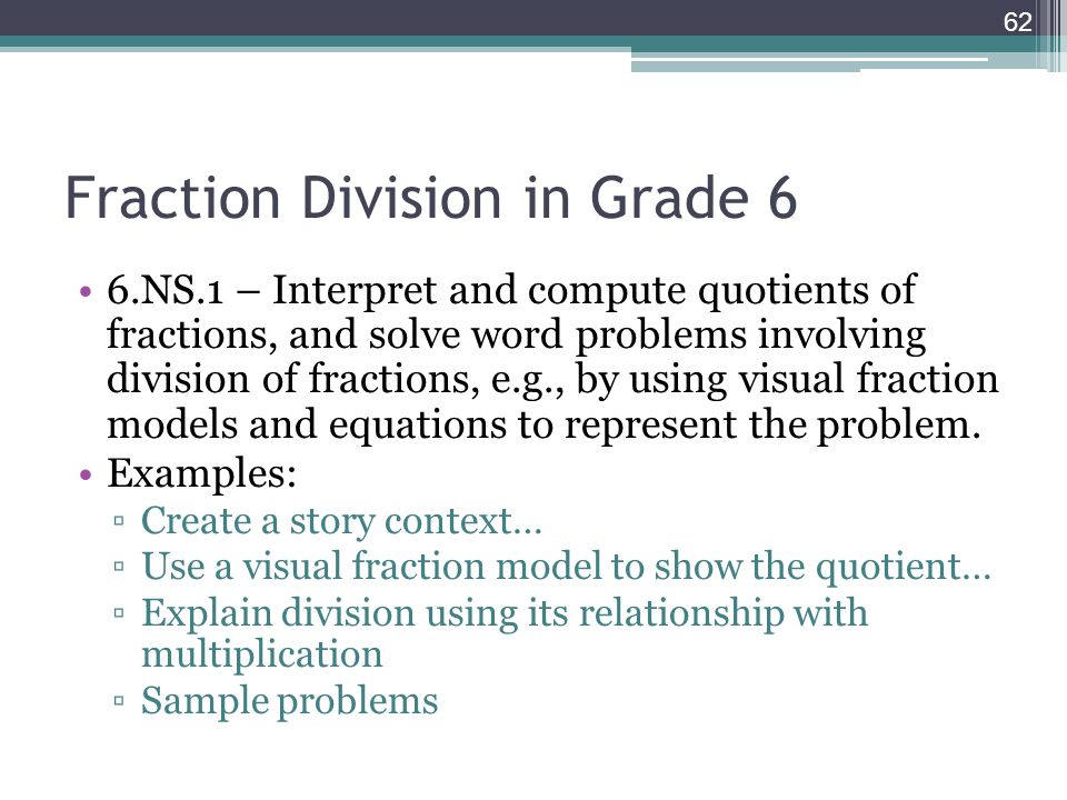 Fraction Division in Grade 6