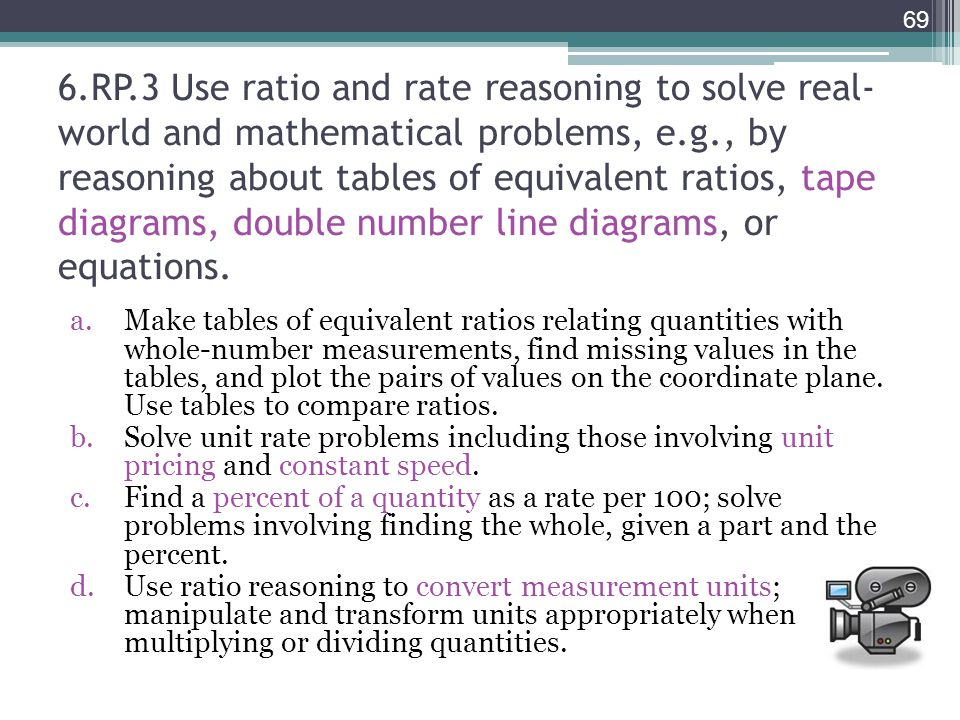 6.RP.3 Use ratio and rate reasoning to solve real-world and mathematical problems, e.g., by reasoning about tables of equivalent ratios, tape diagrams, double number line diagrams, or equations.