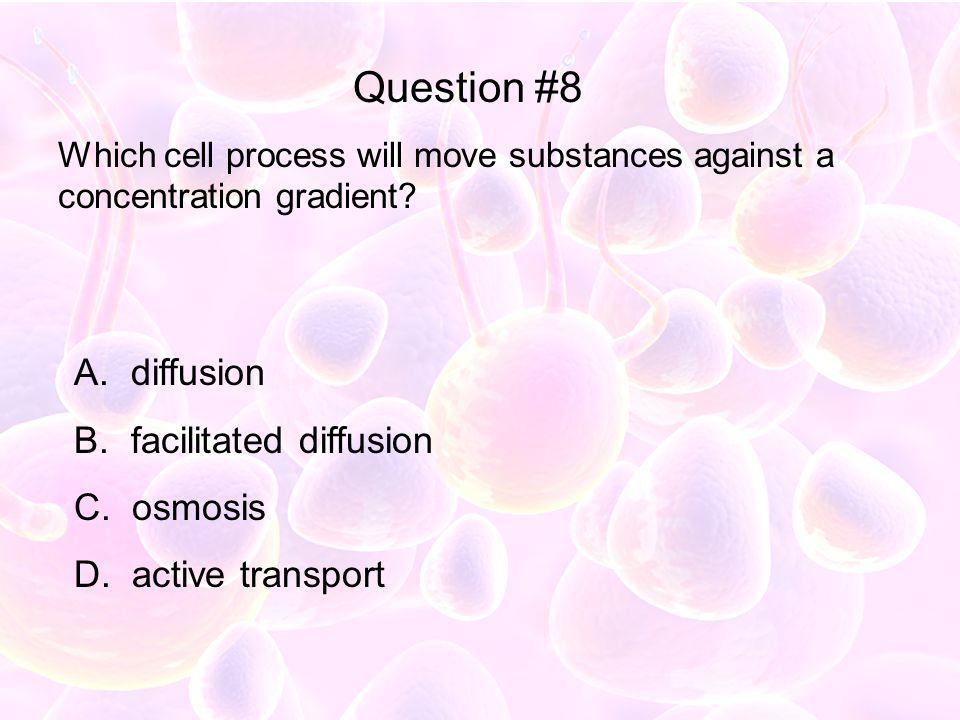 Question #8 diffusion facilitated diffusion osmosis active transport