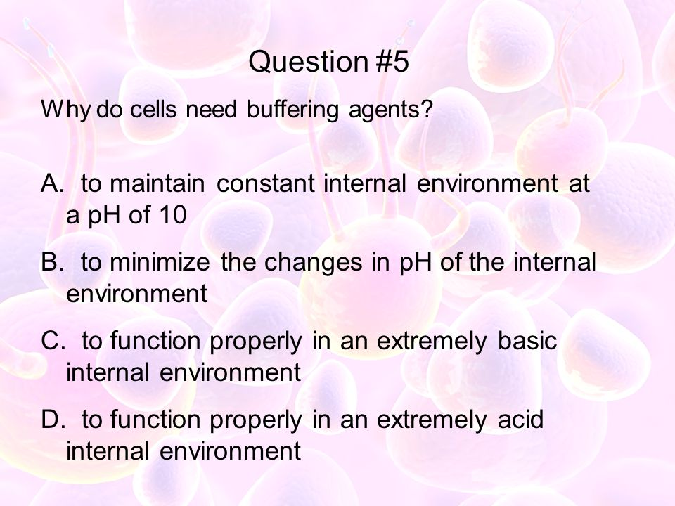 Question #5 to maintain constant internal environment at a pH of 10