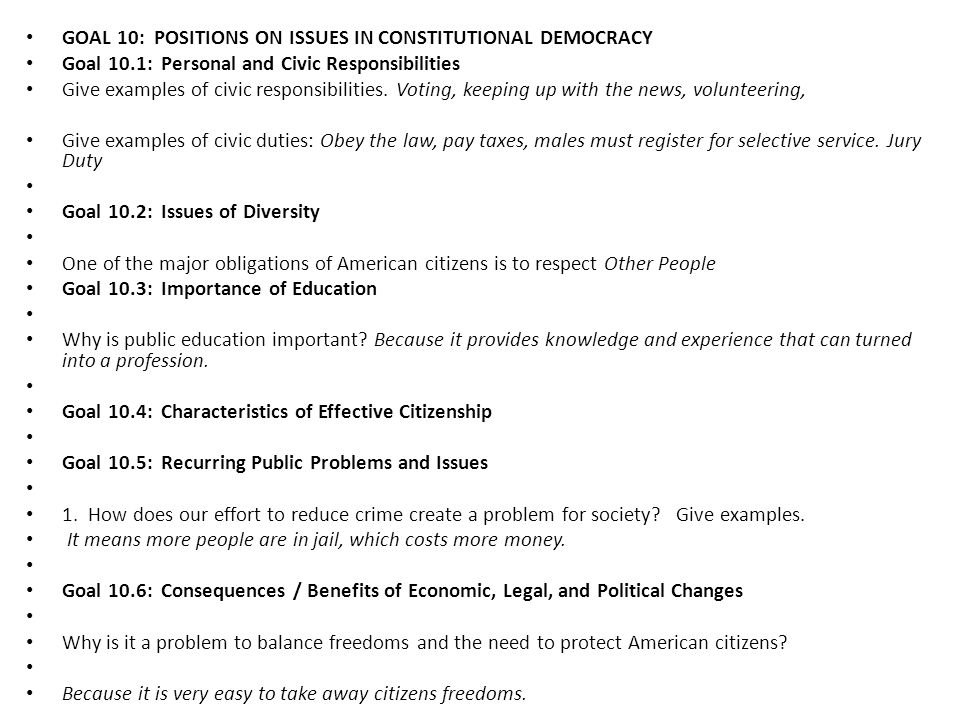 GOAL 10: POSITIONS ON ISSUES IN CONSTITUTIONAL DEMOCRACY
