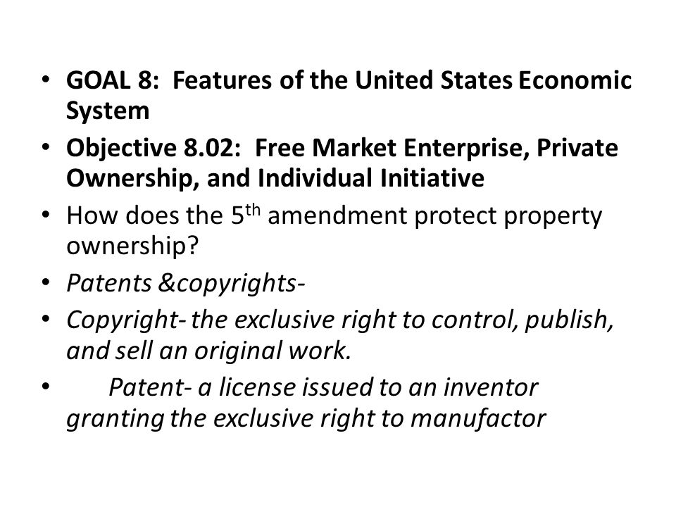 GOAL 8: Features of the United States Economic System
