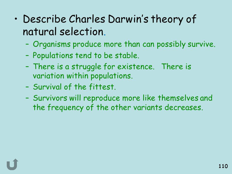 Describe Charles Darwin's theory of natural selection.