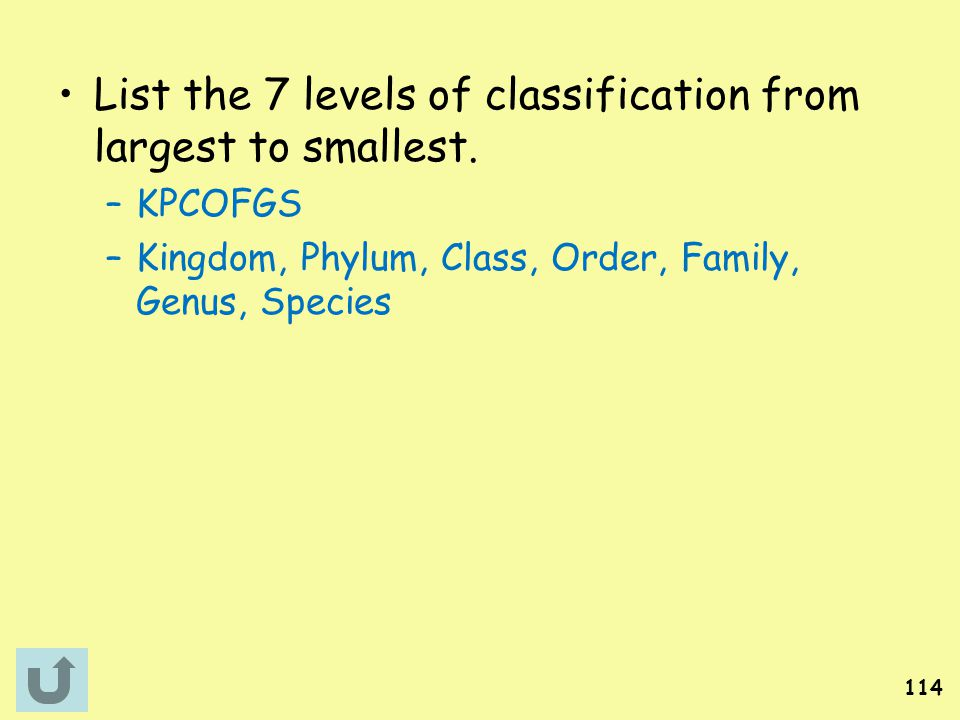 List the 7 levels of classification from largest to smallest.