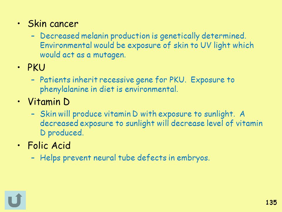 Skin cancer PKU Vitamin D Folic Acid