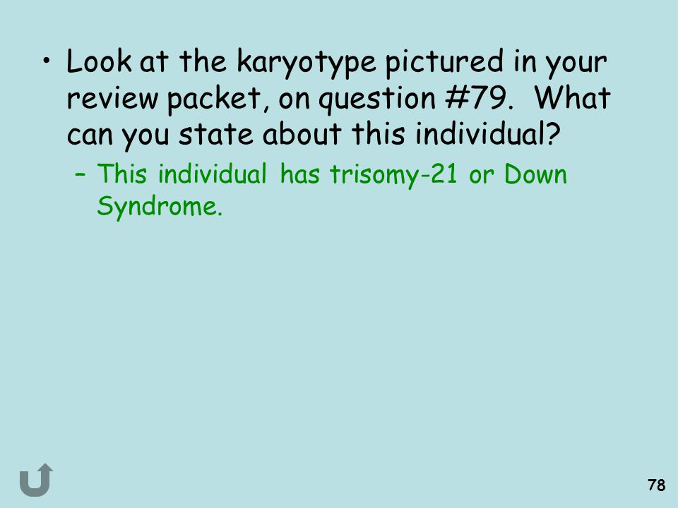 Look at the karyotype pictured in your review packet, on question #79