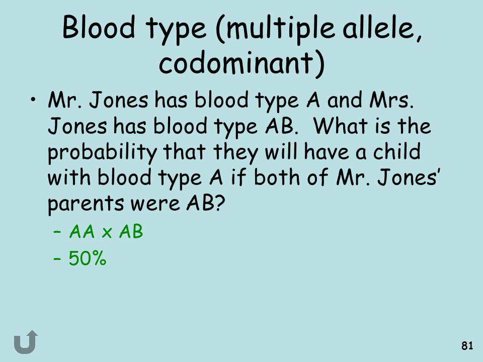 Blood type (multiple allele, codominant)