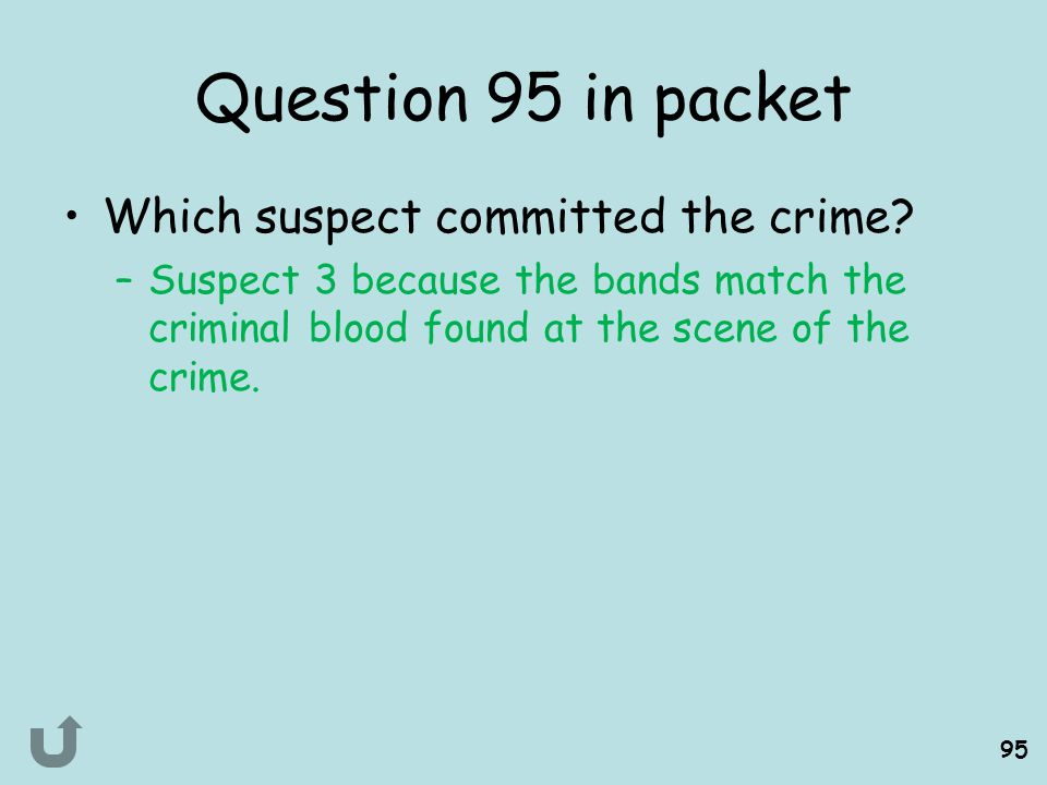 Question 95 in packet Which suspect committed the crime