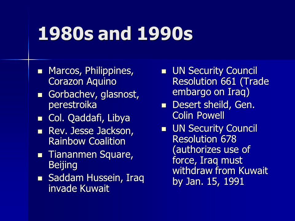 1980s and 1990s Marcos, Philippines, Corazon Aquino