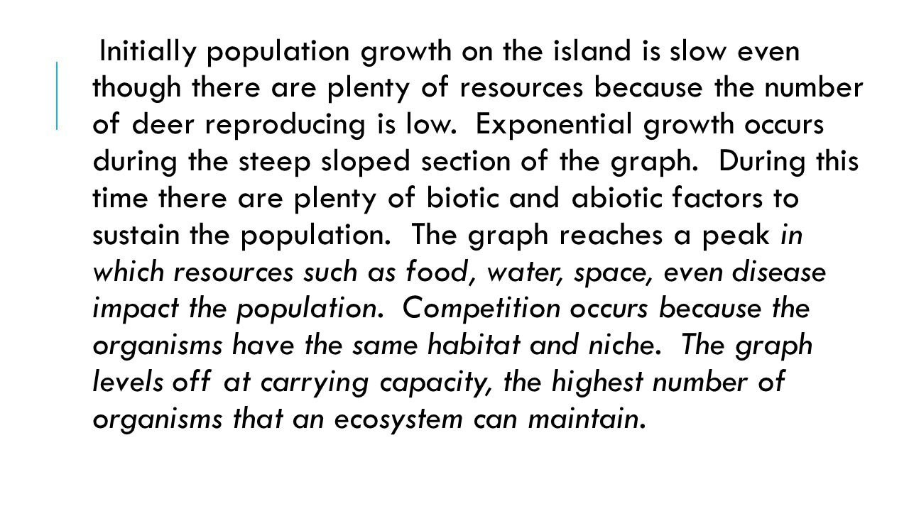 Initially population growth on the island is slow even though there are plenty of resources because the number of deer reproducing is low.