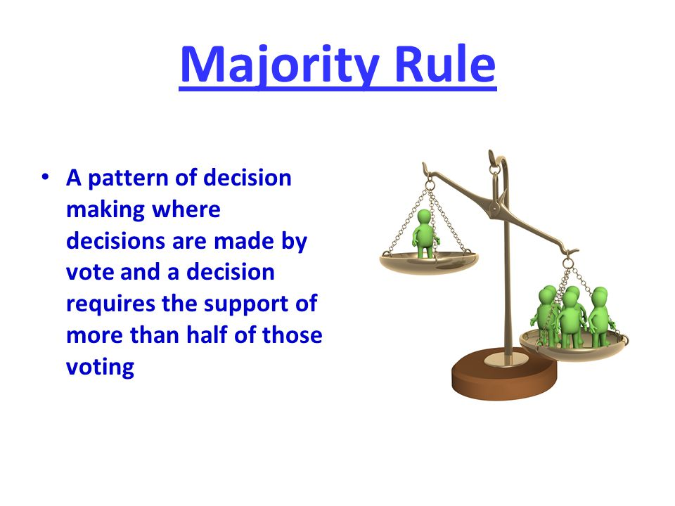 Majority Rule A pattern of decision making where decisions are made by vote and a decision requires the support of more than half of those voting.