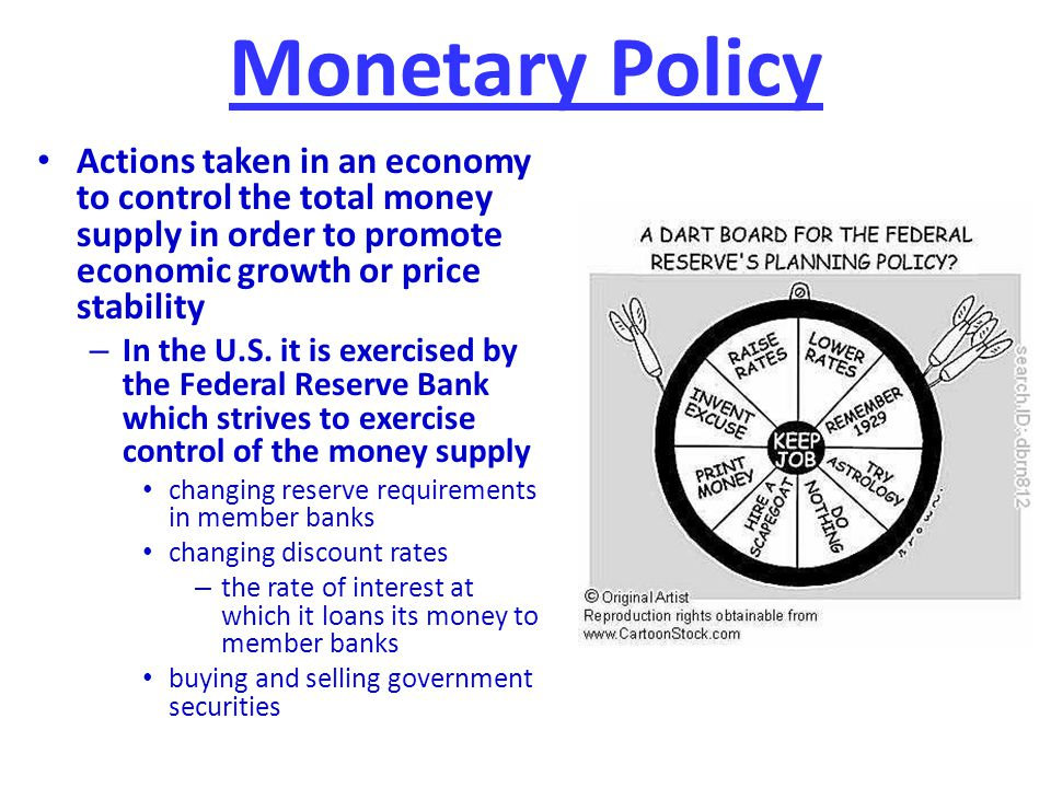 Monetary Policy Actions taken in an economy to control the total money supply in order to promote economic growth or price stability.