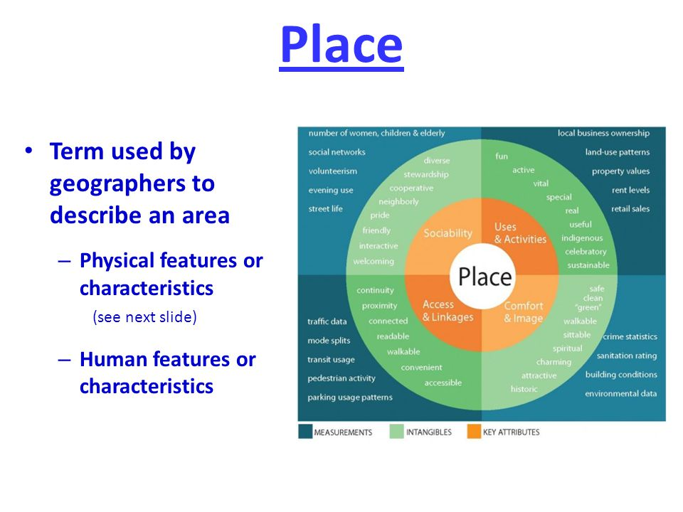 Place Term used by geographers to describe an area
