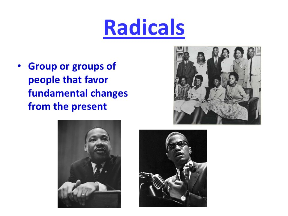 Radicals Group or groups of people that favor fundamental changes from the present