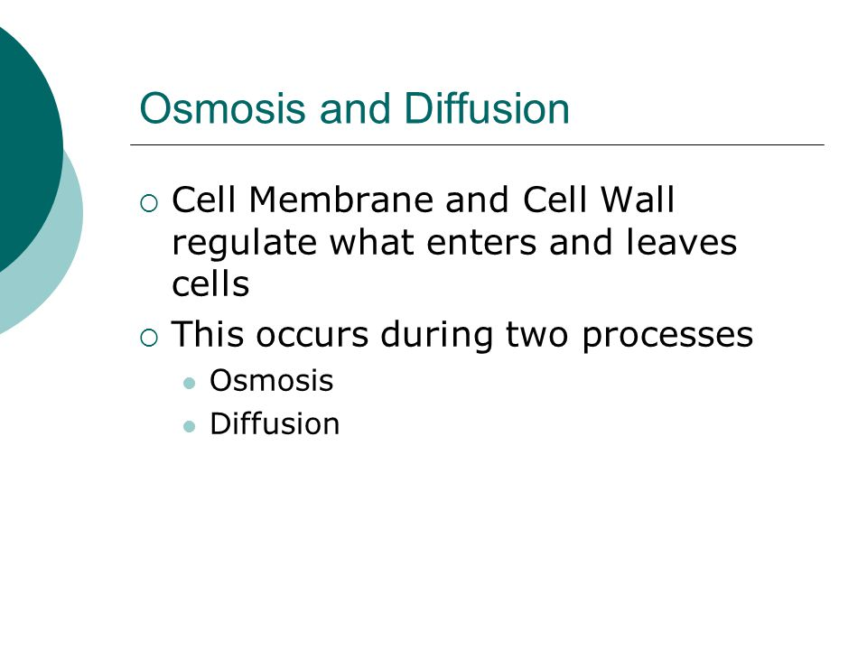 Osmosis and Diffusion Cell Membrane and Cell Wall regulate what enters and leaves cells. This occurs during two processes.