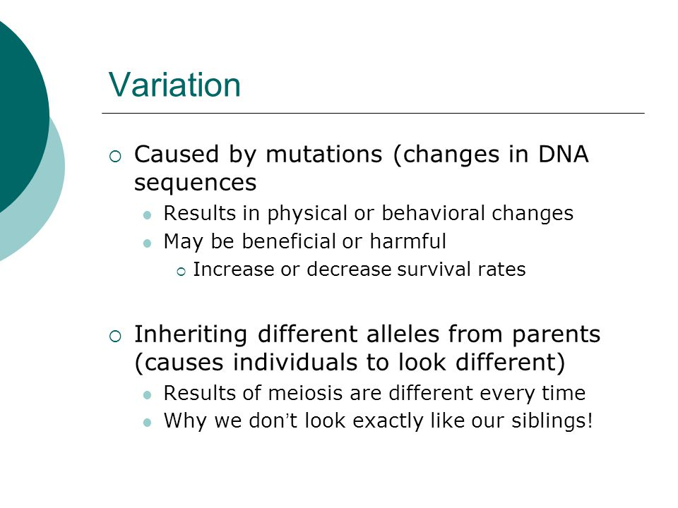 Variation Caused by mutations (changes in DNA sequences
