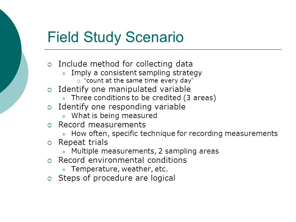 Field Study Scenario Include method for collecting data