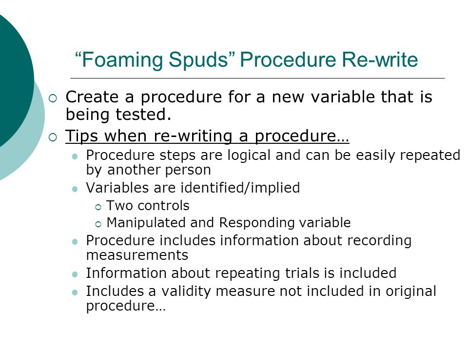 Foaming Spuds Procedure Re-write