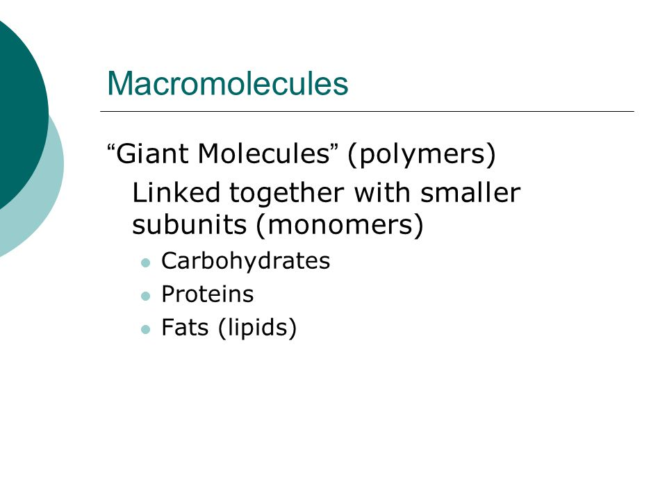 Macromolecules Giant Molecules (polymers)