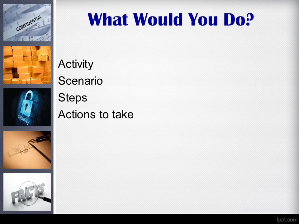 What Would You Do Activity Scenario Steps Actions to take