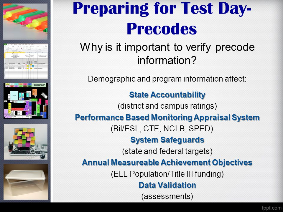 Preparing for Test Day- Precodes