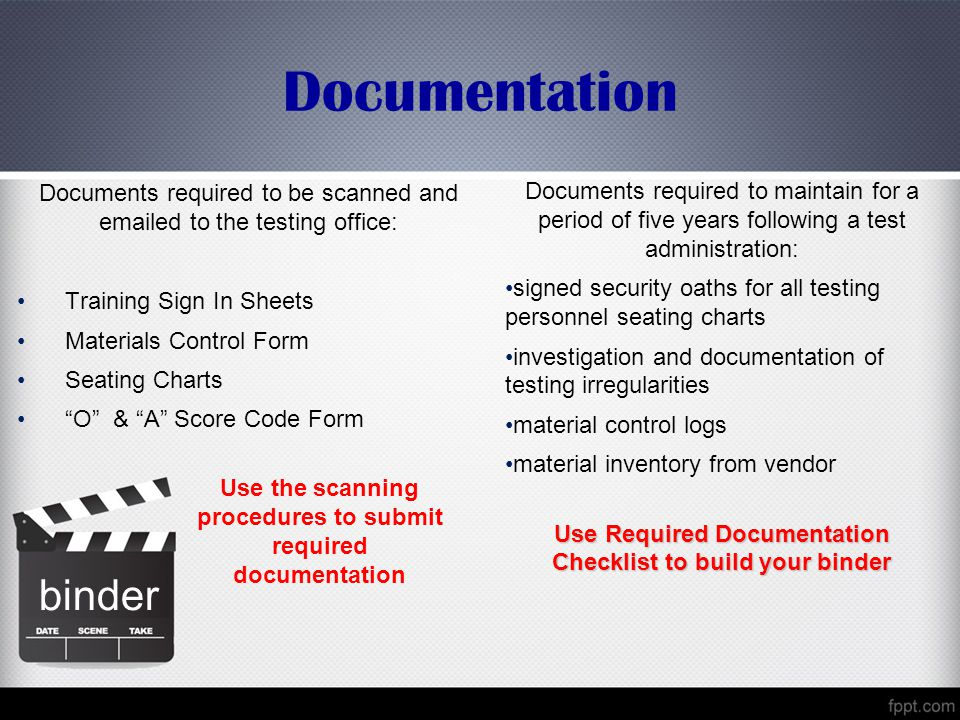 Documentation Documents required to be scanned and emailed to the testing office: Training Sign In Sheets.