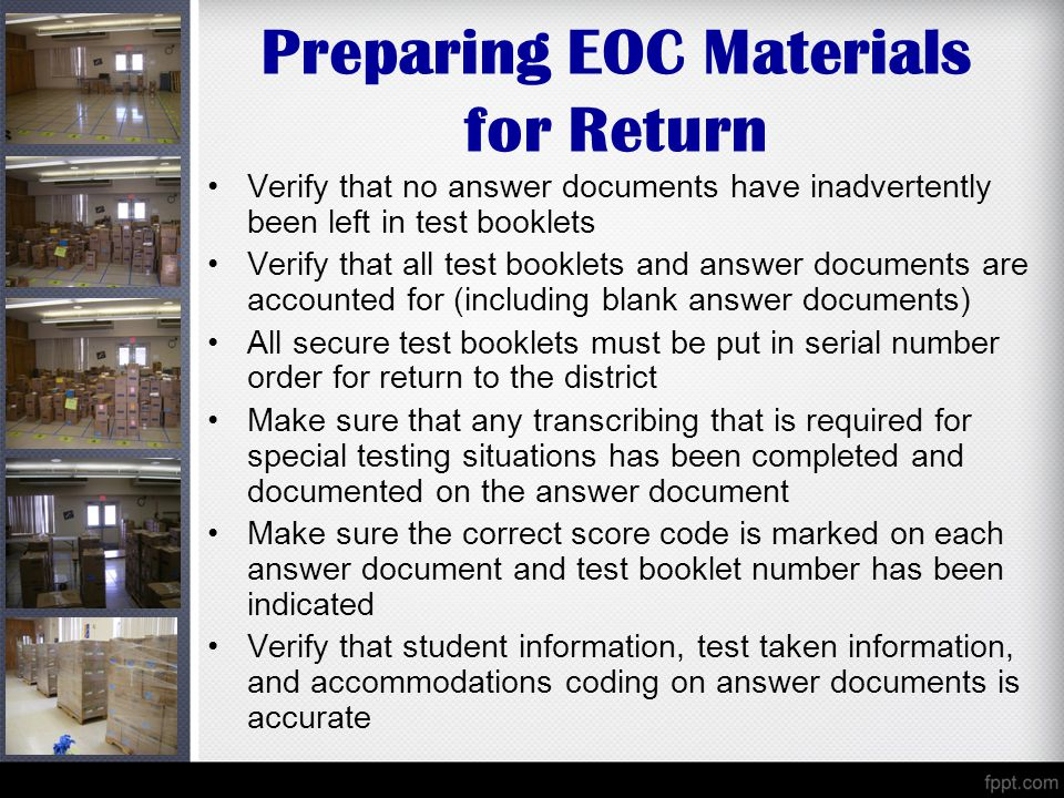 Preparing EOC Materials for Return