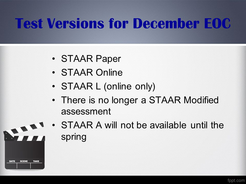 Test Versions for December EOC