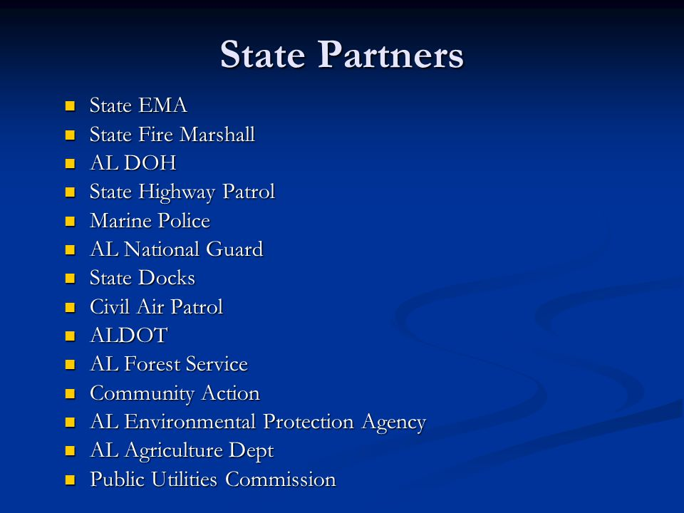 State Partners State EMA State Fire Marshall AL DOH