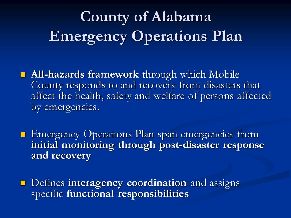 County of Alabama Emergency Operations Plan