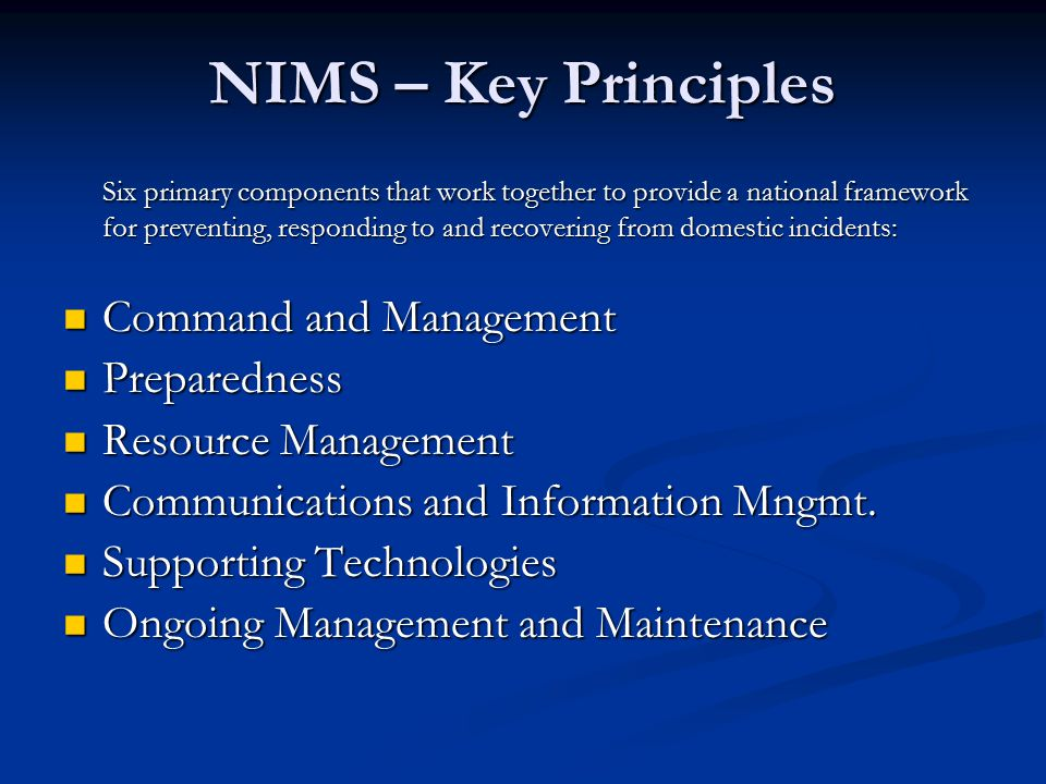 NIMS – Key Principles