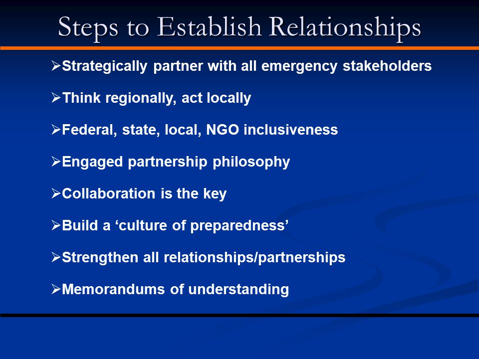 Steps to Establish Relationships