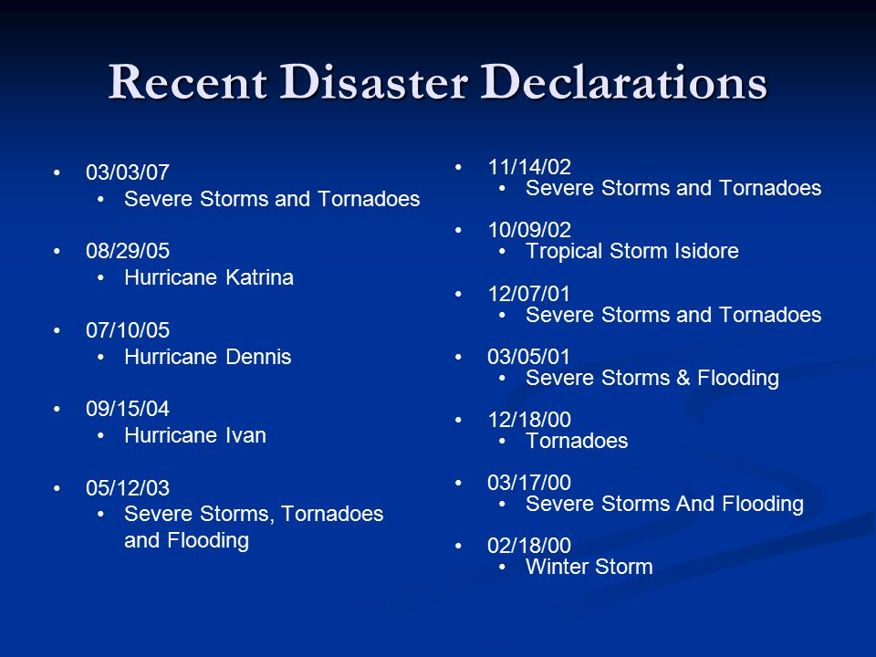 Recent Disaster Declarations