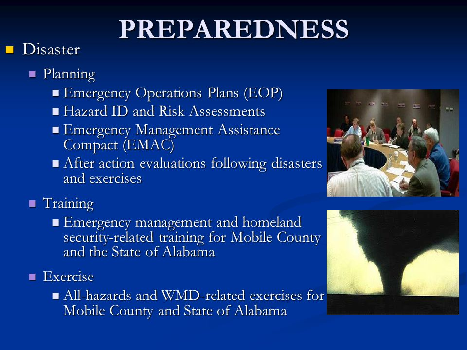PREPAREDNESS Disaster Planning Emergency Operations Plans (EOP)