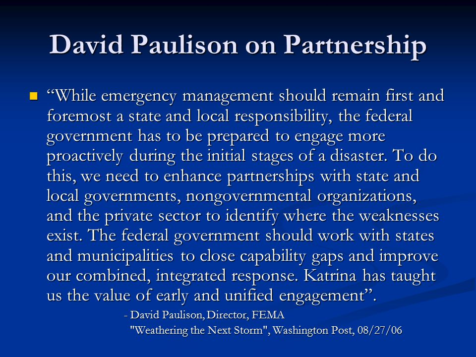 David Paulison on Partnership