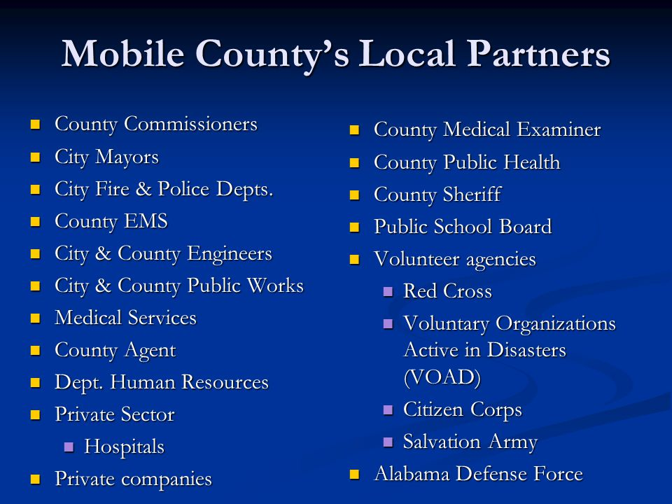 Mobile County's Local Partners
