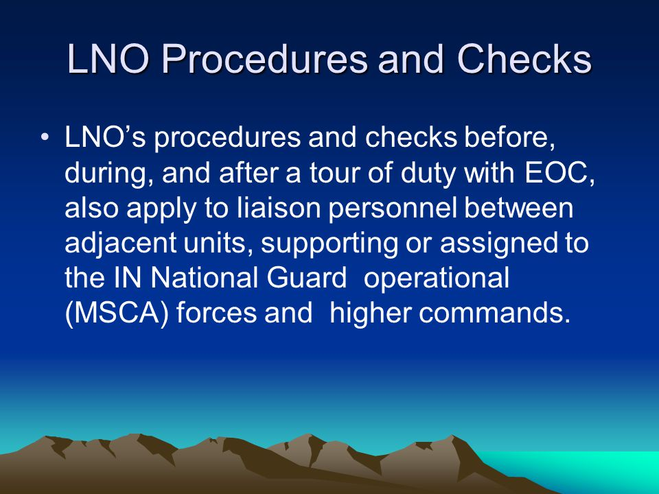 LNO Procedures and Checks