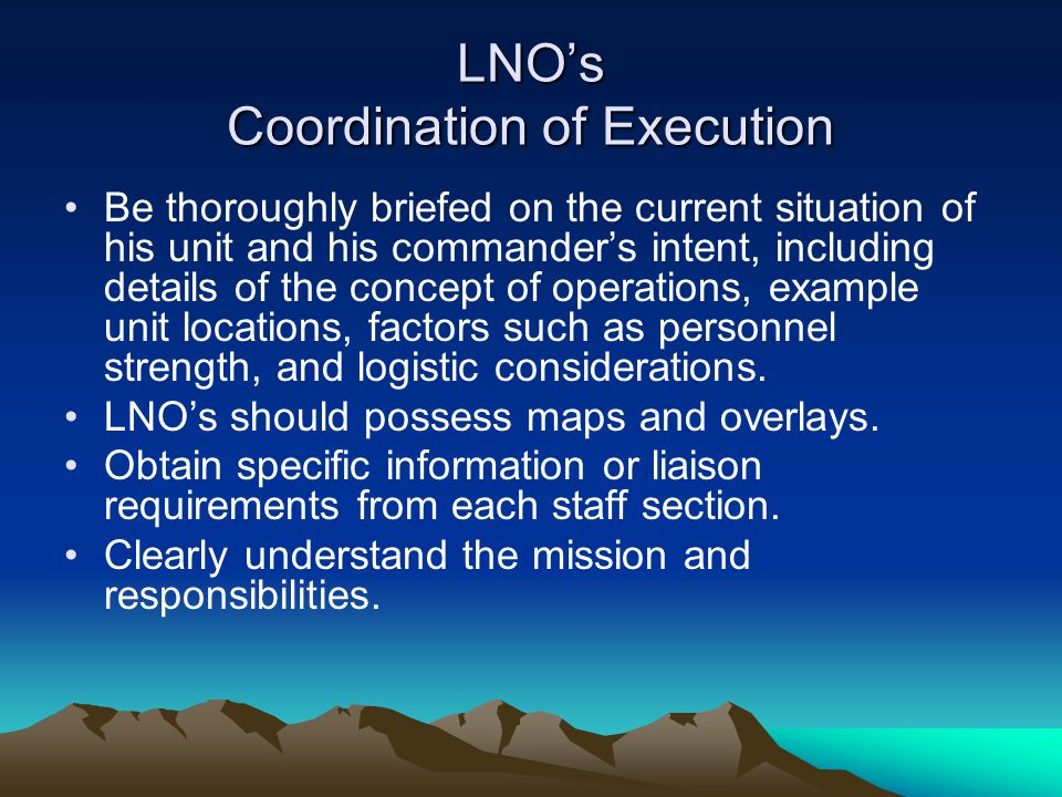 LNO's Coordination of Execution