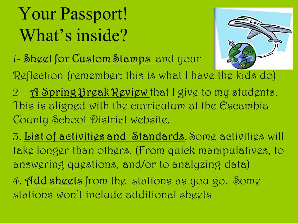 Your Passport! What's inside