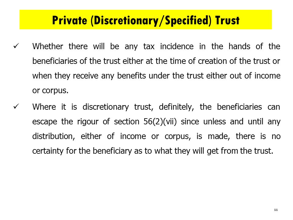 Private (Discretionary/Specified) Trust