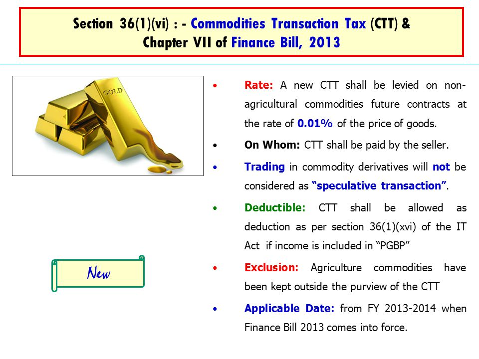 Section 36(1)(vi) : - Commodities Transaction Tax (CTT) & Chapter VII of Finance Bill, 2013