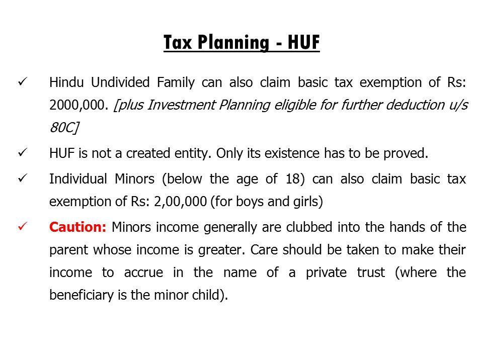 Tax Planning - HUF