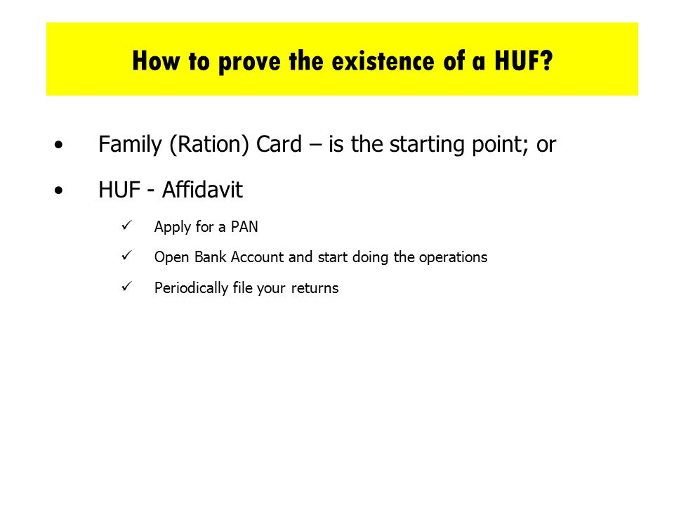 How to prove the existence of a HUF